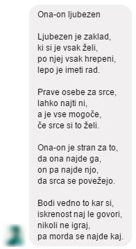 Pesem smo prejeli prek Facebooka  na VSI KI STE SAMSKI.