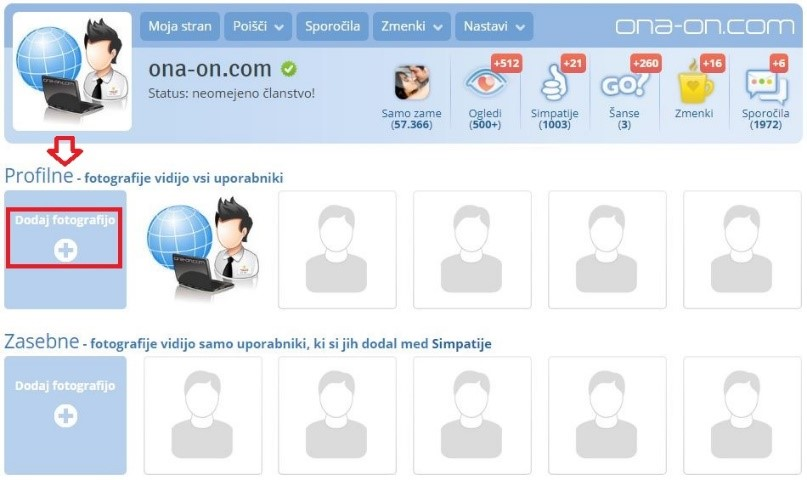 Dodajanje fotografije na ona-on.com