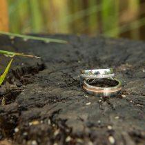 Poročni prstani v gozdu